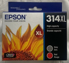 Epson 314XL Gray & Red Ink Cartridges T314XL922 Exp 2022+ New Sealed Retail Box - $43.51