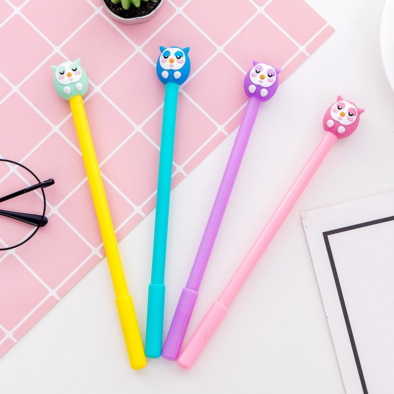 4 pcs Cartoon Owl gel pen Cute design kids gift 0.5mm ballpoint pens Black color