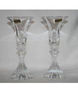 Mikasa Crystal Germany The Ritz Ribbed Candlesticks Set/2 with Stickers ... - $25.00