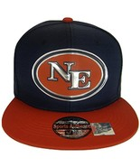 New England NE Oval Style Cotton Snapback Baseball Cap (Navy/Red) - $12.95