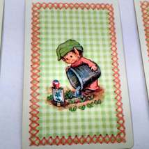 6 Elf Watering Garden Playing Cards for Crafting, Re-purpose, Up-cycle, Vintage  image 3