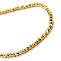 18K YELLOW GOLD BRACELET, 20 CM, FINELY WORKED SPHERES, 2 MM DIAMOND CUT BALLS image 2
