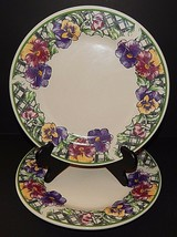 2 Gibson Purple Pansy Pansies & Green Lattice Dinner Plates Floral Pattern - $29.69