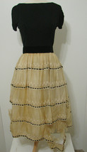 BLACK & WHITE By Candee Dress Vintage Ecru Embroidered Velvet Bow Layer 32 - $134.99