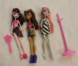 Monster High Barbie Dolls Lot of Three 3 Dolls Stand & Brush Clothes Shoes  - $59.39