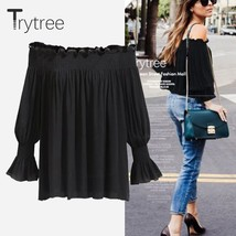 Trytree 2018 Summer Women Blouse Sexy Polyester Fashion Shirt Slash neck... - $48.00