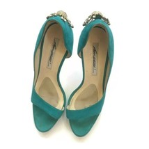 Brian Atwood Crystal Peacock Pumps Teal Blue Suede Gold High Heels 7 Sti... - $98.95