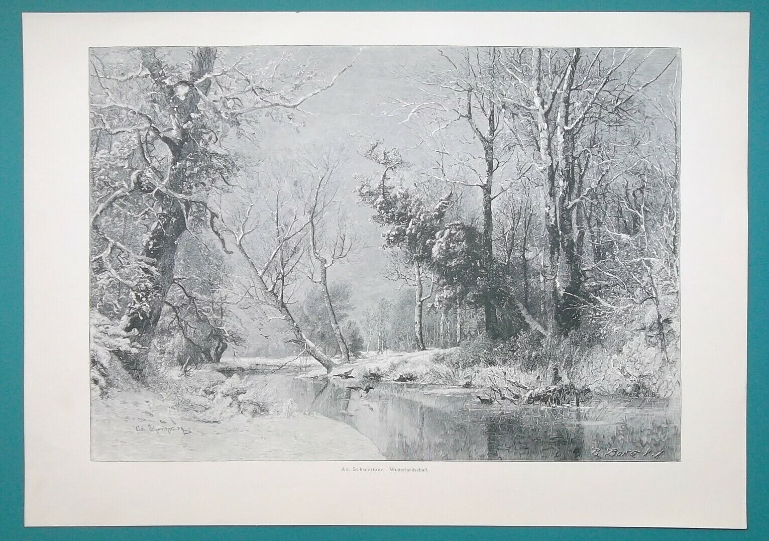 Primary image for WINTER SOLITUDE Landscape Snow Frozen River Trees  - VICTORIAN Era Print