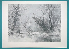 WINTER SOLITUDE Landscape Snow Frozen River Trees  - VICTORIAN Era Print - $15.44