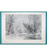 WINTER SOLITUDE Landscape Snow Frozen River Trees  - VICTORIAN Era Print - $15.44