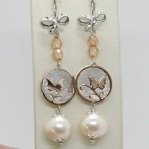 Pendientes de Plata 925 Rodiado Colgante Perla Pesca con Cristales y Lazo image 1
