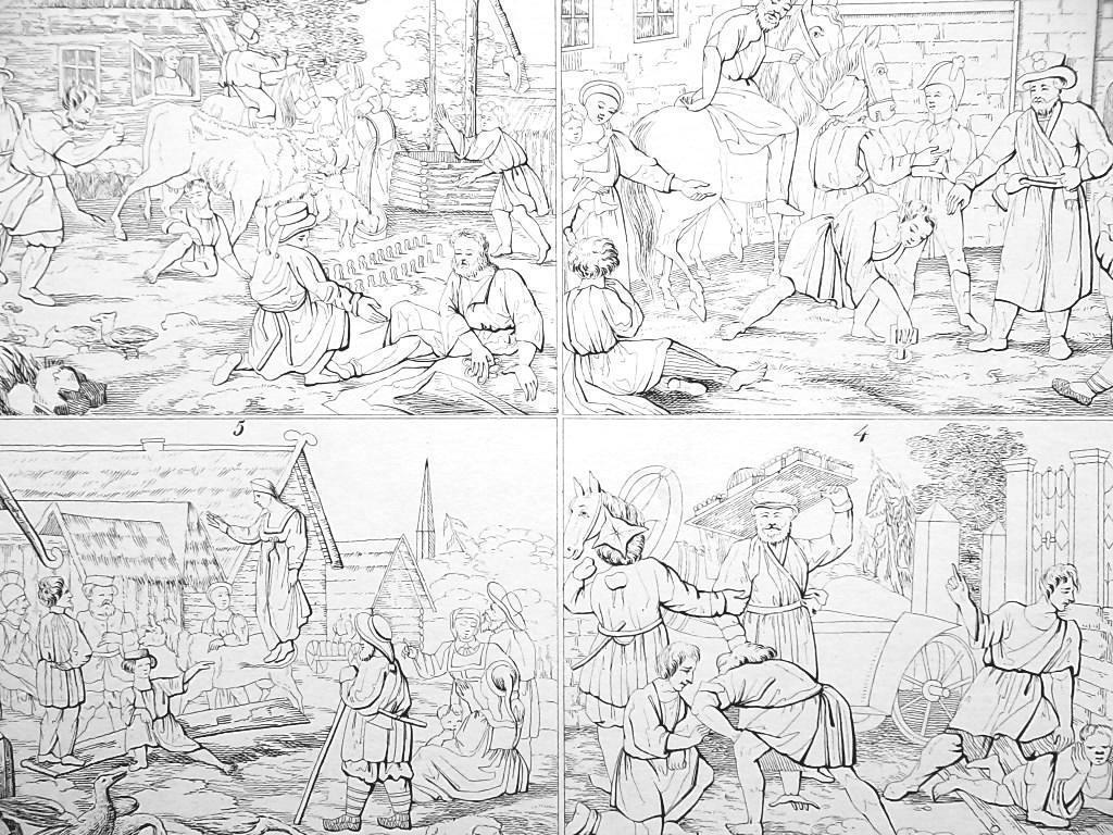 RUSSIA People of Caucasus Games Dance Cossacks Tcherkas - 1828 Antique Print