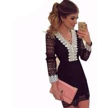 Black Crochet Vneckline and Arms Women Mini Dress - $23.98