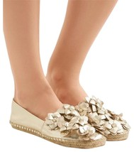 Tory Burch Blossom Gold Leather Platform Espadrilles Floral Flats Shoes 6 - $129.00