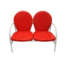 Rich Pacific Vibrant Red and White Retro Metal Tulip 2-Seat Double Chair - £127.97 GBP