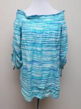 Michael Kors Striped Off Shoulders Top Size M # V 138 - $39.59