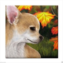 Ceramic Tile Coaster from art painting Dog 84 Chihuahua Autumn Fall - $13.99