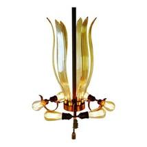 Art Deco Venetian Glass and Brass 7 Light Chandelier - $3,795.00