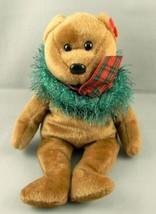 """Ty Beanie Babies Hollydays Bear Plush Toy Xmas Wreath 8"""" Stuffed Animal ... - $9.39"""