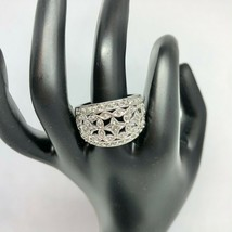 Premier Designs Silver and Crystal Filigree Ring Size 9 EUC - $34.40