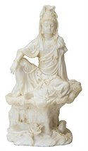 """7 Inch Cream Toned Cold Cast Resin """"Water & Moon Kuan Yin"""" Statue - $19.59"""