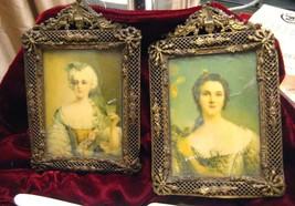 Antique Portrait Art of Elegant Ladies Miniatur... - $1,345.50