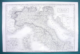"ITALY Northern Part & Corsica - c. 1835 Original Map 11 x 16"" - $22.95"