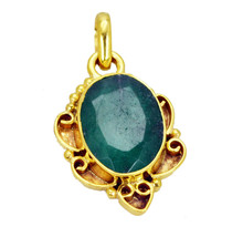 bonnie Indian Emerald Gold Plated Green Pendant Fashion supplies US - $5.63