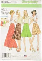 Simplicity Creative Patterns Misses' Vintage 1970's Skirts, Size: H5 (6-8-10-12- - $13.48