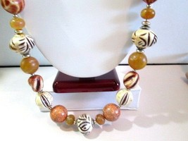 LONG NECKLACE LUCITE FAUX WOOD TRIBAL PATTERN RUST BEIGE BLACK ANIMAL PRINT - £21.72 GBP