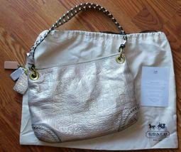 Coach Poppy Metallic Leather Whipstitch Hippie Convertible Bag 19014 Platinum image 7