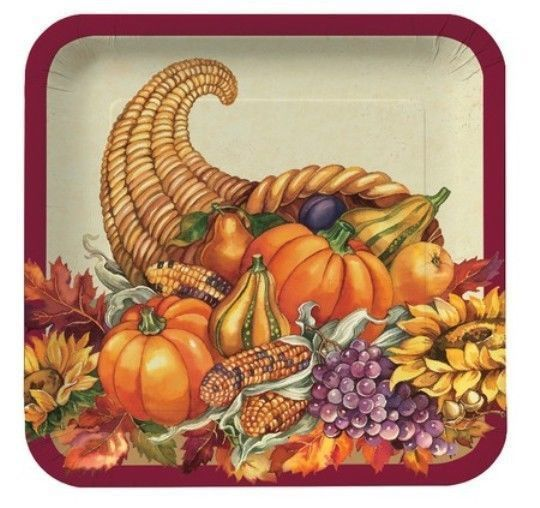"Thanksgiving Fall Plenty 9"" Dinner Plates 8 Ct Cornucopia Pumpkin"