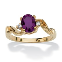 Birthstone Crystal 14k Yellow Gold-Plated Ring-February-Simulated Amethyst - $9.06