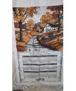 VINTAGE 1979 LINEN CLOTH KITCHEN TOWEL CALENDAR FARM HOUSE SCENE BY KAY DEE - $9.89