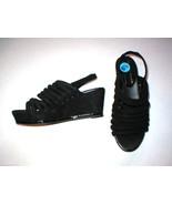 New $235 Womens 10 Donald J Pliner Wedge Platform Sandals Black Shoes Suede - $94.00