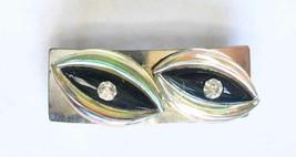 Elegant Black & Iridescent Glass Silver-tone Hair Clip  Barrette 1960s V... - $14.20