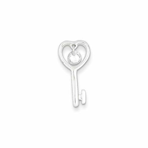 Primary image for Sterling Silver Cz Open Key Pendant, Best Quality Free Gift Box
