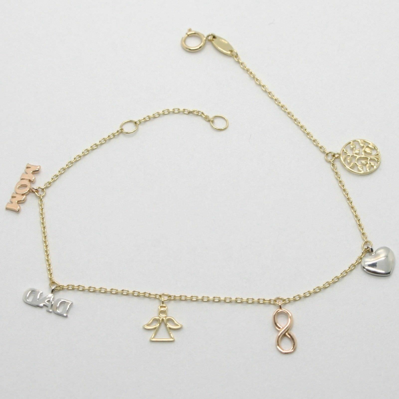 Primary image for Armband Gelbgold Weiß und Pink 18K 750 Anhänger Familie Made in Italien