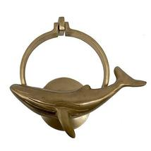 """6-1/4"""" Antiqued Brass Whale Door Knocker - $47.03"""