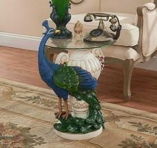 PEACOCK BIRD STATUE END TABLE Home Office Decor Sculpture Art Artwork Fu... - $279.95