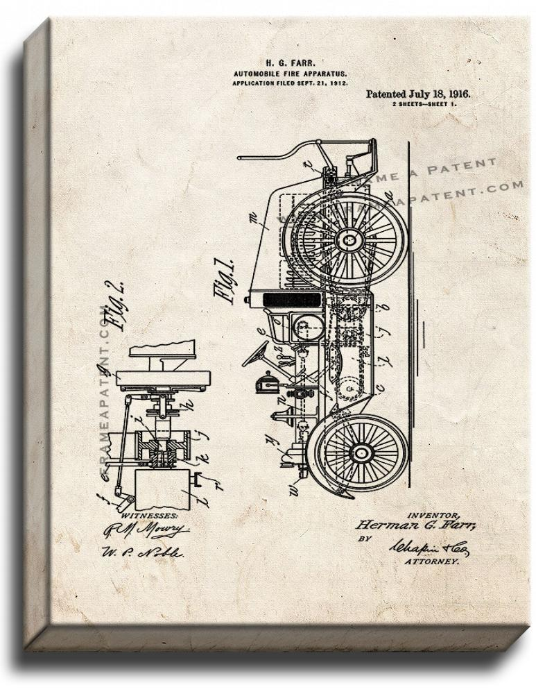Primary image for Automobile Fire Apparatus Patent Print Old Look on Canvas