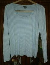 Talbots Green Stripe Shirt Large Pima Cotton Mint Long Sleeve Soft Womens - $25.74