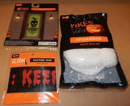Halloween Outside Decor Kit Door Cover 200ft Of Spiderweb 30ft Caution T... - €6,36 EUR