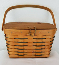 RARE Longaberger 1999 Purse w/Blue on Basket Lidded Leather Hinge Latch Liner   - $36.98