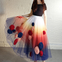 Women Flower Embroidery Long Tulle Skirt Outfit Custom Plus Size Princess Outfit image 2