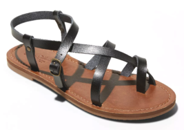 Universal Thread Women's Black Lavinia Toe Wrap Thong Flat Summer Sandals NEW
