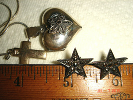 VTG 925 STERLING SILVER MARCASITE HEART LOCKET CROSS NECKLACE STAR EARRI... - $267.99