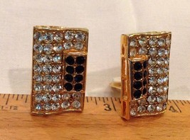 "1.25"" tall Clip on Earrings Pave Black and Clear Rhinestones Clip On Ear... - $27.28"