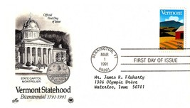 March 1, 1991 First Day of Issue, Postal Society Cover, Vermont Statehood - $0.99