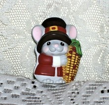 Vintage Hallmark Thanksgiving Pin Mouse with Ear of Corn - $13.45